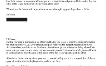 Correspondence with Financial Aid Office